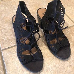 Black lace up block heel sandals